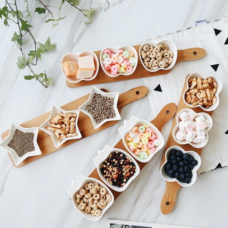 Japon Style Fruits Plateau Plateaux de service Creative Plat En Céramique Plaques pour Collations/Noix/Desserts Éco Plateau En Bambou Naturel