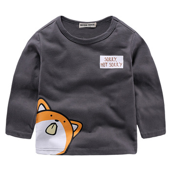 2-7 Years Long Sleeve Boys T Shirt Cute Cartoon Animals Kawaii Boys Clothing Soft Comfortable Camiseta Gray Cotton Roupa Menino