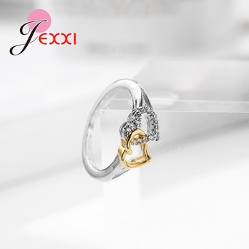 Female Heart with Heart Shaped Romantic Pure 925 Silver Rings With Cubic Zirconia Women Bridal Wedding Bague Bijoux 3