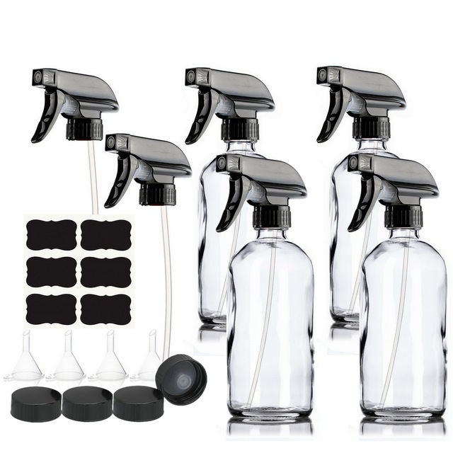 4pcs 500ml Clear Glass Spray Bottles 16oz Empty Refillable Mist Stream Trigger Sprayer Containers for Essential Oils Cleaning