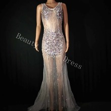 Sparkly Colorful Rhinestones Perspective Dress Birthday Celebrate See Through Mesh Costume Evening Net