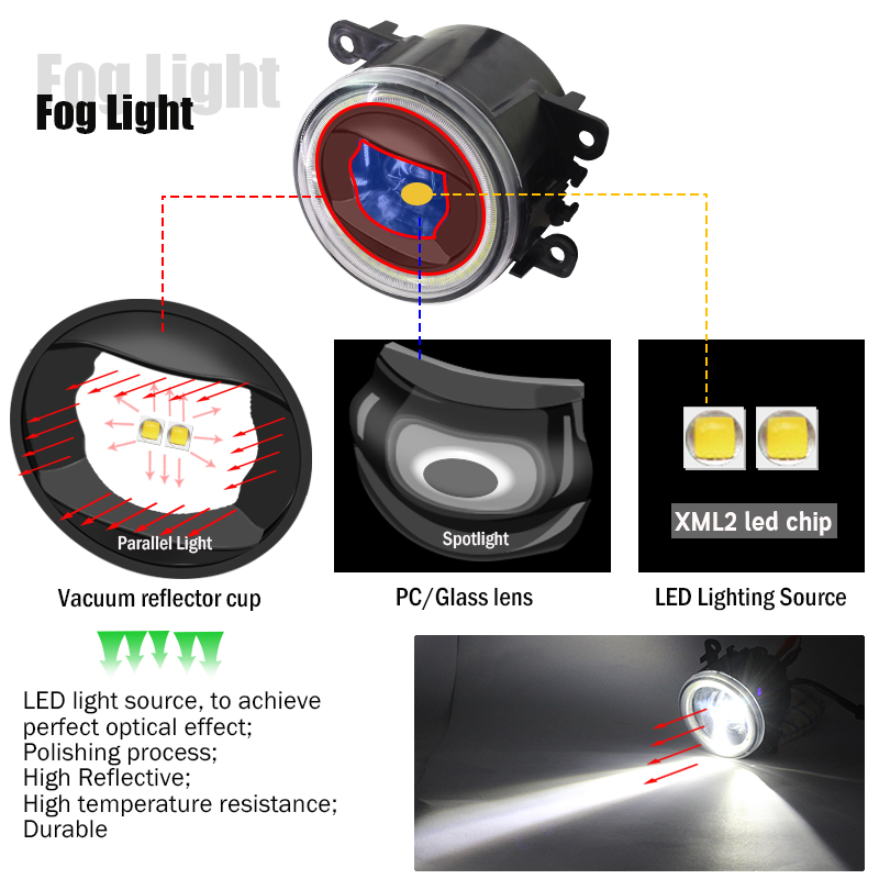 Cawanerl For 2004 2015 Ford Focus MK2 MK3 Car Styling 4000LM LED Lamp H11 Fog Light Angel Eye Daytime Running Light DRL 12V-in Car Light Assembly from Automobiles & Motorcycles    3
