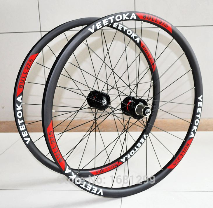 Newest VEETOKA 27.5 inch 25mm clincher rim Mountain bike T800 matt UD full carbon bicycle wheelset 27.5er MTB parts Free ship newest raceface next sl road bike ud full carbon fibre saddle spider web mountain bicycle front seat mat mtb parts free shipping