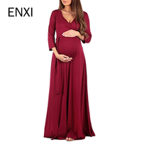ENXI Maternity Clothing Soft Dress Clothes For Pregnant Women Maternity Dresses Long Dresses Pregnancy Women's Dress Summer