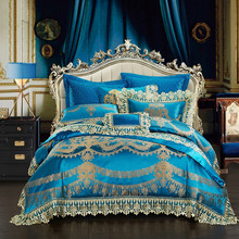 Blue Luxury European Silk Satin Cotton Jacquard Royal Wedding Lace Bedding Set Duvet Cover Bed sheet/Linen Pillowcases 4/9pcs