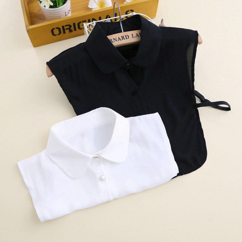 YSMILE Y Black White Pure Color Unisex Fake Collar Shirt Sweater Suit Adjust Detachable Collar Blouse Lapel Tops False Collar