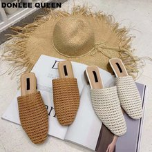 2019 New Summer Mules Low Heel Slippers Shoes Women Slip On Casual Breathable Weave Flat Shoe Comfortable Female sandalias mujer women shoes casual cutouts flat heel slip on lace air shoes hollow out summer breathable platform flat shoe outsole comfortable