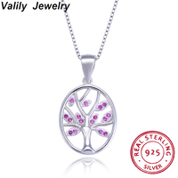 Valily 100% 925 Sterling Silver Tree of Life Zircon Crystal Pendant Necklaces for Women Christmas Gift Chain Necklaces Jewelry