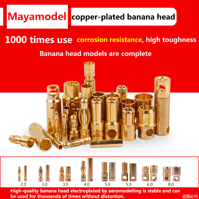 10pcs Amass Banana Plug 2mm 3mm <font><b>3.5mm</b></font> 4mm <font><b>Bullet</b></font> Female Male Connectors 5mm 5.5mm 6mm 6.5mm 8mm Gold Plated Copper RC Parts Head image