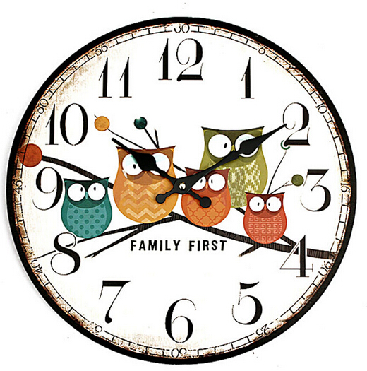 New Arrival 34CM Modern Owl Vintage Wall Clock Rustic Shabby Chic Home Office Cafe Decoration Art Large Wall Clock