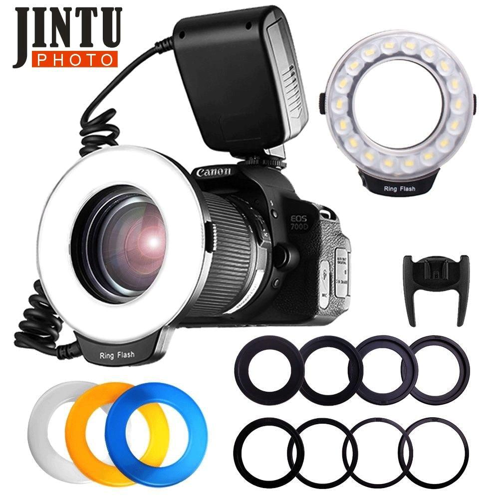 JINTU RF-550 Макро 48 LED Кольцевой свет для Canon Nikon Pentax Olympus DSLR камер + 6 шт переходных колец 49-77 мм кольцевой адаптер