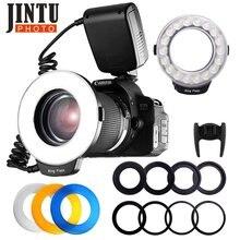Jintu RF-550 macro 48 leds, anel de luz para câmeras canon, nikon, pentax, olympus, dslr, 6 peças de anéis adaptadores 49 adaptador de anel de 77mm