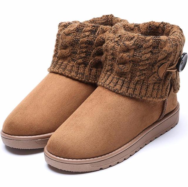 Mujeres Botón de Botas de Invierno que hace punto de Alta Calidad Mujeres Botines Niñas Suede Nieve Australia Botas Mujer Zapatos de Invierno Felpa Bot