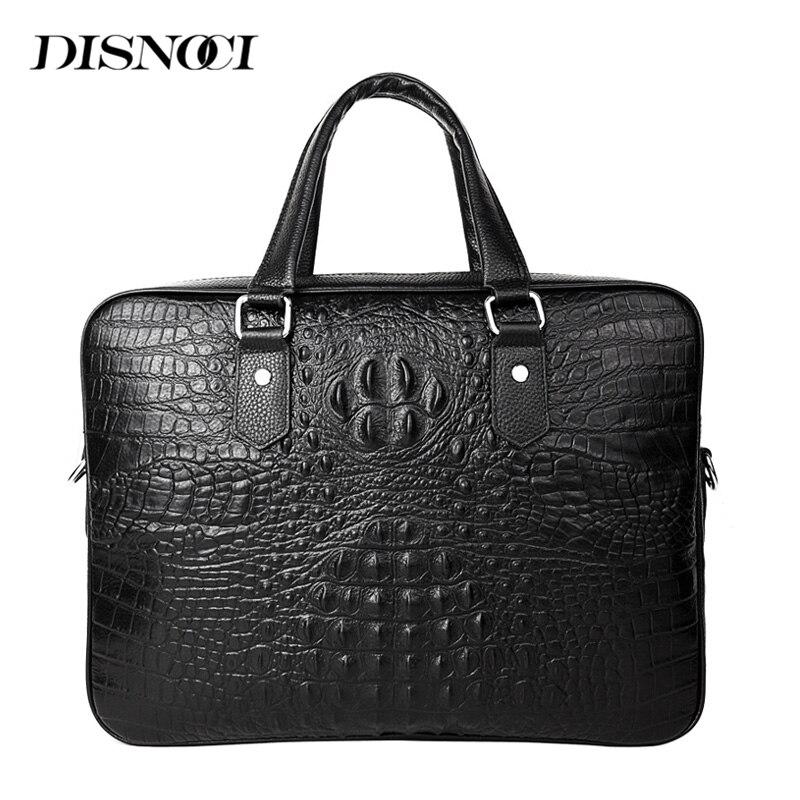 DISNOCI Business Men Handbags Genuine Leather Men's Briefcase Crocodile Pattern Men Shoulder Messenger Bag 14