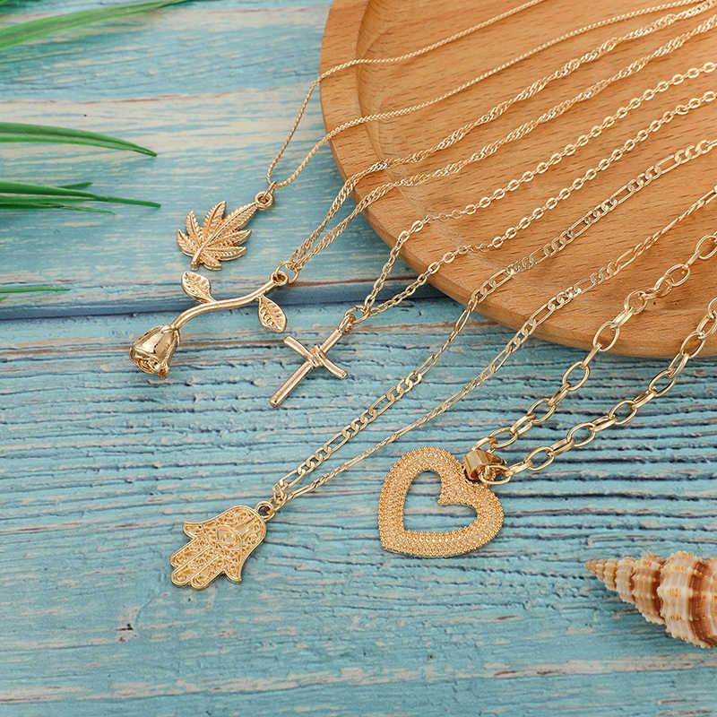 Tocona богемное женское многослойное ожерелье золотистого цвета с розовым вырезом в форме сердца и поперечного листа в форме руки, ювелирное изделие на цепочке D06402