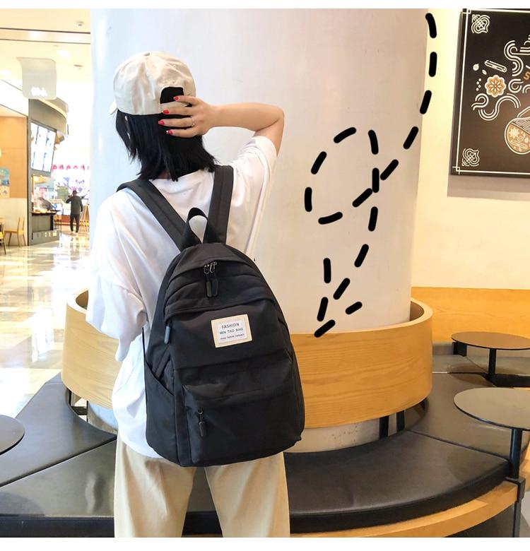 HTB1gF8bTHPpK1RjSZFFq6y5PpXaN Nylon Backpack Women Backpack Solid Color Travel Bag Large Shoulder Bag For Teenage Girl Student School Bag Bagpack Rucksack