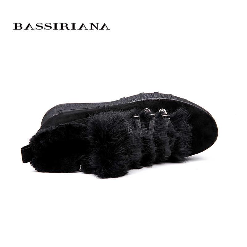BASSIRIANA 2018 yeni hakiki süet deri yarım çizmeler kadınlar için kış sezonu Boyutu 35-40 Renk Mavi Siyah Ücretsiz Kargo