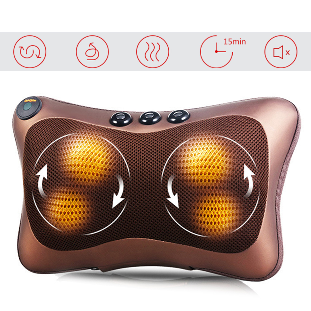 Car Home 4/8 Heads Massage Pillow Cushion Body Relaxation Electric Kneading Shoulder Back Neck Massager Pain Relief DeviceCar Home 4/8 Heads Massage Pillow Cushion Body Relaxation Electric Kneading Shoulder Back Neck Massager Pain Relief Device