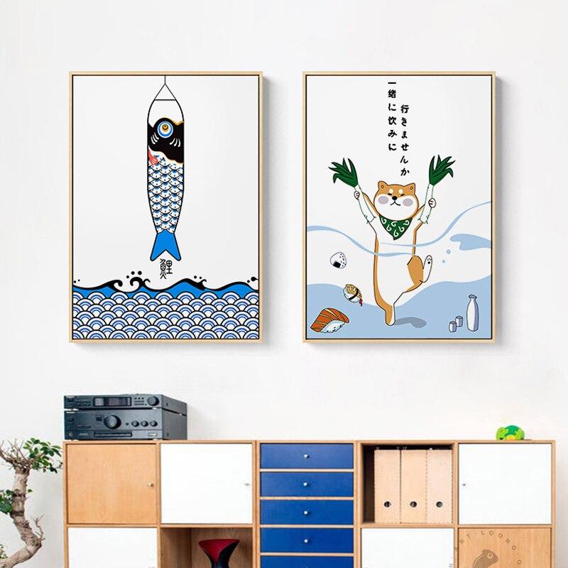 Японский креативный постер в виде рыбы с животными и принтом, украшение для ресторана, картина, милые настенные художественные фотографии д...