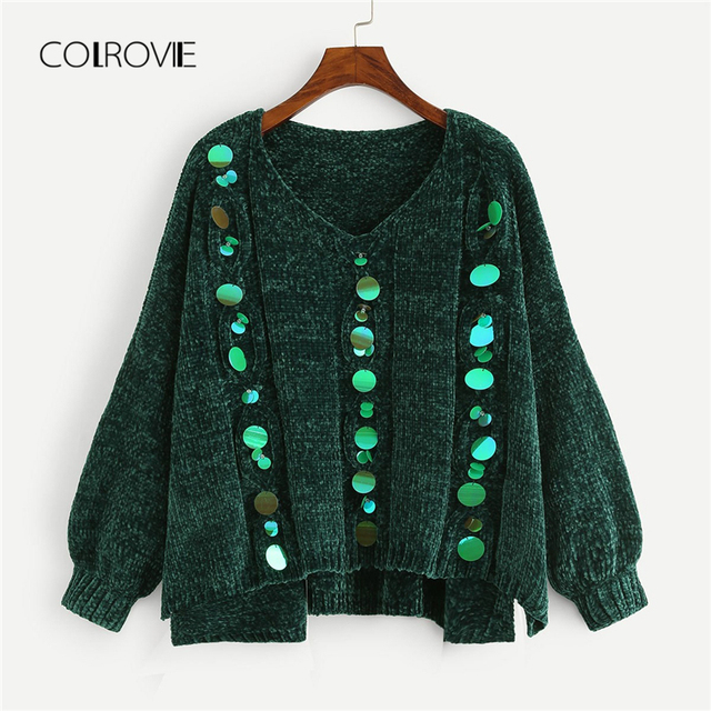 Colrovie Plus Size Green V Neck Korean Loose Sequin Winter Chenille