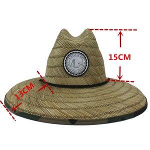 Image 3 - Sombrero salvavidas de tejido de paja Natural para hombre, sombrero de Sol de playa, ala ancha, Camuflaje, Panamá, talla 58 59CM