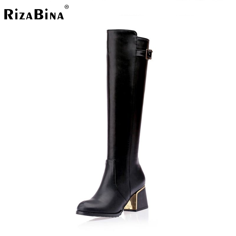 RizaBina Free shipping over knee high heel boots women snow fashion winter warm footwear shoes boot P15646  EUR size 30-49 free shipping candy color women garden shoes breathable women beach shoes hsa21