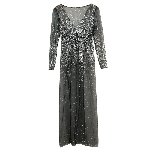 Wholesale Sexy Women Party Bling Rhinestone Sheer Deep V High Split Long Sleeve Maxi Dress