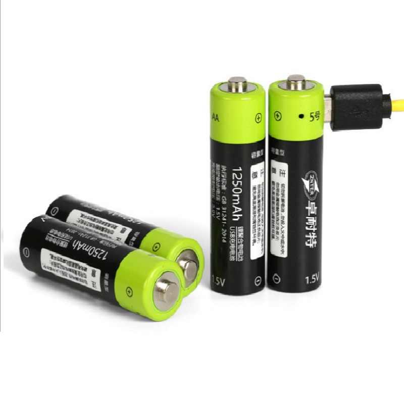 ZNTER 単三充電式バッテリー 1.5 ボルト 2A 1250 mah USB 充電リチウム電池 Bateria のマイクロ USB ケーブル