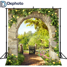 DePhoto Photography Background Spring Flower Garden Stone Arch Trail Backdrop photo studio photocall photophone prop(China)