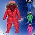 Россия зима 2015 младенческой мальчик в девочке пальто верхней одежды детская Snowsuit вниз комбинезон зима Roupas тепловые комбинезоны, Зима детская одежда