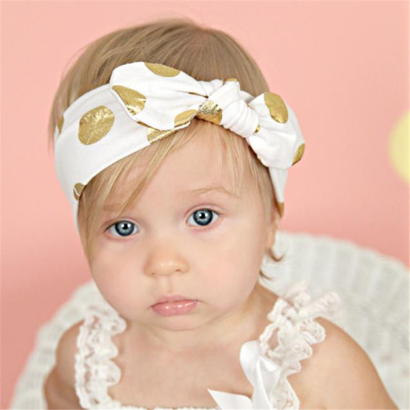 Cute Baby Infant Bronzing Dot Hair Band Girls Bowknot Headband Photography Props Kids Accessories Bandeau Bebe