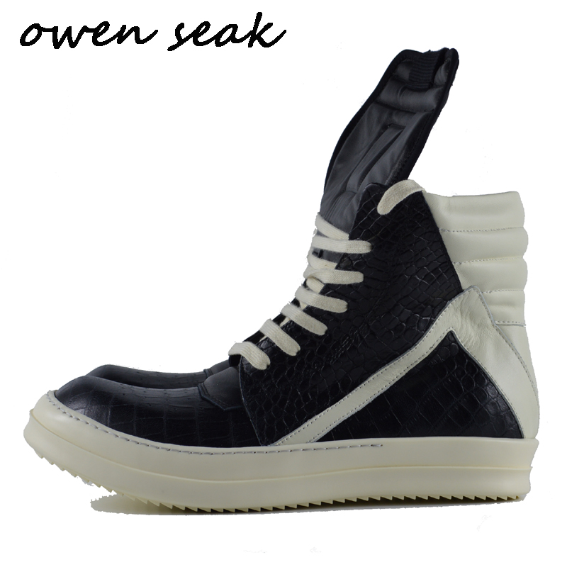 Owen Seak Men Casual Shoes High-TOP Ankle Boots Serpentine Genuine Leather Sneakers Luxury Trainers Boots Lace-up Zip Flat Shoes