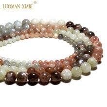 Цена AAA натуральный белый и серый лунный камень Sunstone Круглый драгоценный камень бусины для самостоятельного изготовления ювелирных изделий ожерелье браслет