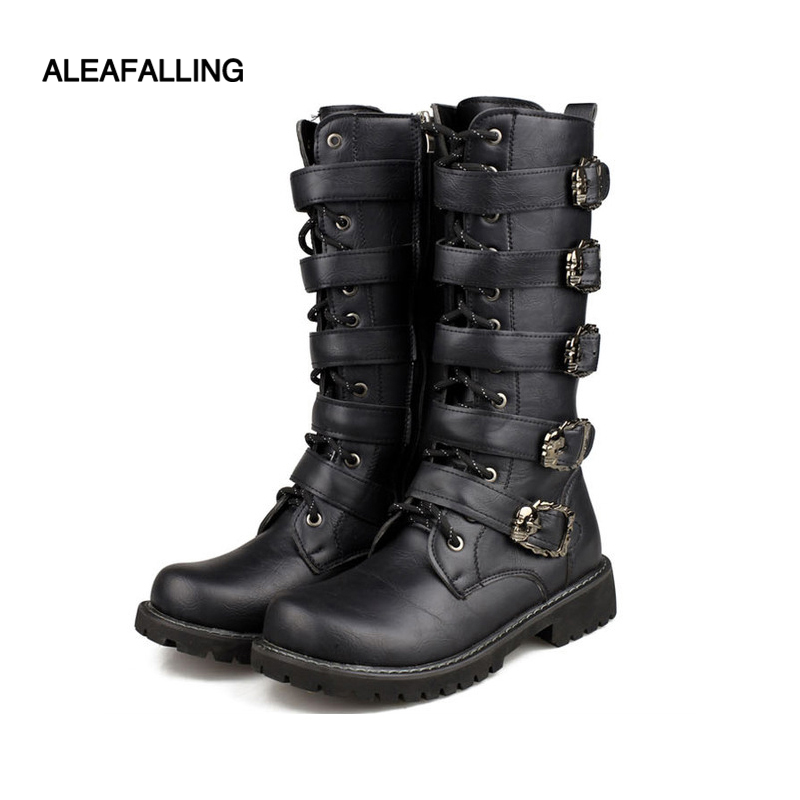 Men Military Combat Metal Flat Lace Force Leather Motorcycle Punk Mid Calf Boots