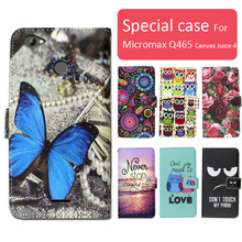 Fashion cartoon printed flip wallet leather case for Micromax Q465 Canvas Juice 4 with Card Slot phone bag book case,free gift