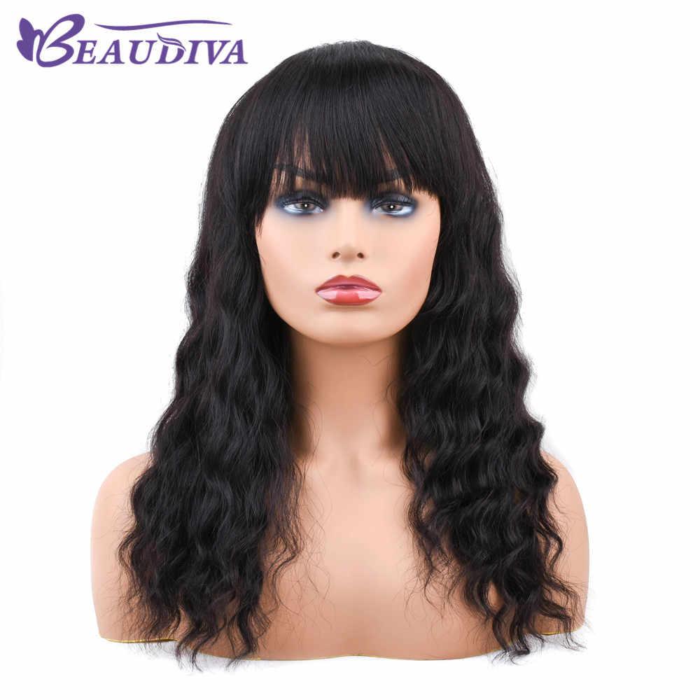 Beaudiva Синтетические волосы на кружеве парики человеческих волос с челкой для женский, черный объемная волна 150% густой парик с подкладкой предварительно сорвал бразильский Волосы remy