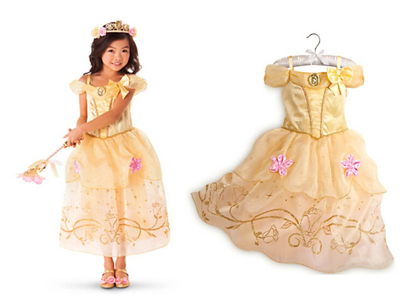 Dresses Free Shipping Girls Princess Belle Dresses Kids Cosplay Costume Clothing Children Rapunzel Cinderella Sleeping Beauty Sofia Part