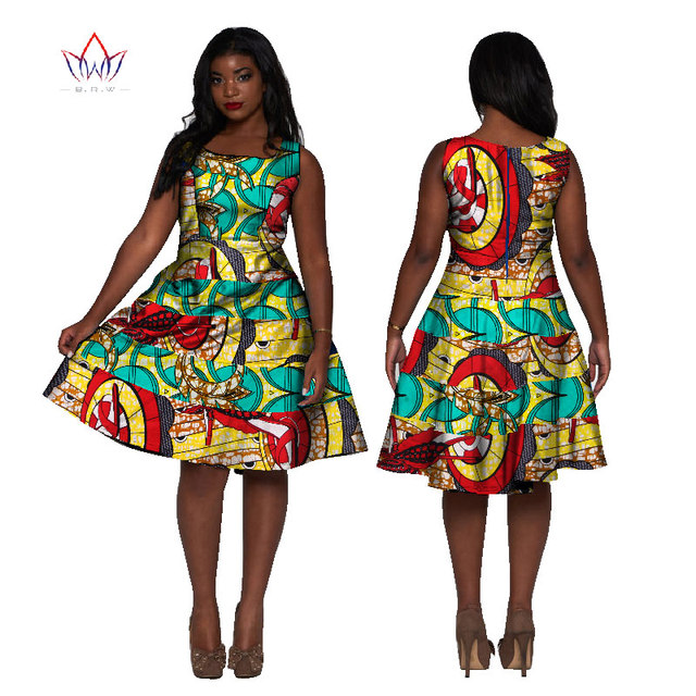Women African Clothing 2017 Dashiki Sleeveless Dress Knee Length A ...