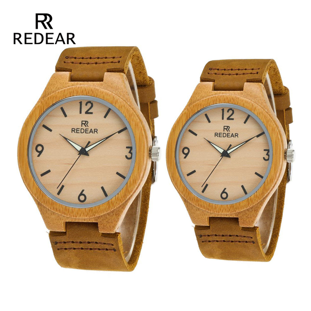 REDEAR Lover's Watches Classic Wooden Bamboo Watches With Night Light Pointer Re