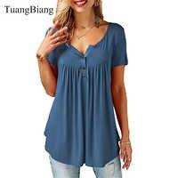 Tuangbiang 2019 mulheres verão com decote em v manga curta t camisas soltas sexy camisa feminina t camisas femininas plus size estilo longo