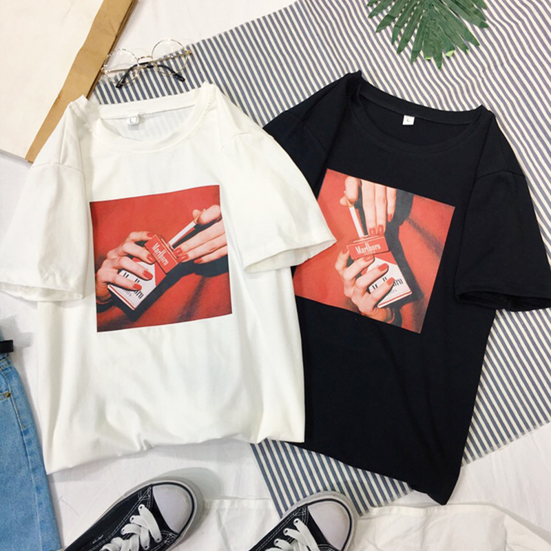 New Student O-Neck Cool T-Shirt Cotton Casual Female Short Sleeve Clothes Summer Loose Personality Tops Lady Hot Sale Shirts