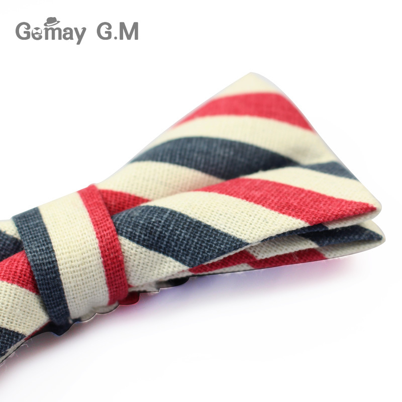 New Men Fashion Striped Bowtie Casual Neckwear Adjustable Mens Bow Tie for wedding England Style Adult Linen Ties