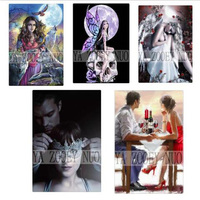 Diamond Embroidery 5D DIY Diamond Painting Girl Angel And Wolf Skull Diamond Painting Cross Stitch Rhinestone