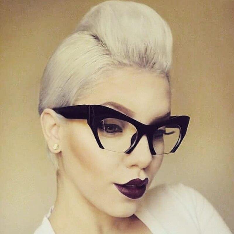 Fashion Brand Designer Cat Eye Sunglasses Women Half Rim