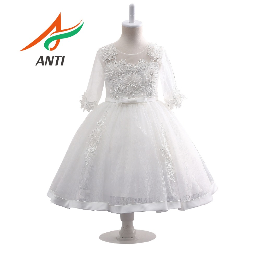 ANTI Elegant White Applique Lace   Flower     Girl     Dress   Pleated Tutu   Girl   First Communion   Dress     Girl   Special Occasion   Dress   In Stock