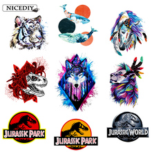 Nicediy Iron On Transfers For Clothes Animal Colorful Patches Heat Transfer Vinyl Sticker Thermal Applique