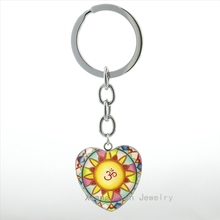 Купить с кэшбэком Colorful Yoga Om Symbol mandala keychain charm women jewelry Buddhist flower meditation key chain ring mens jewellery gift HP358