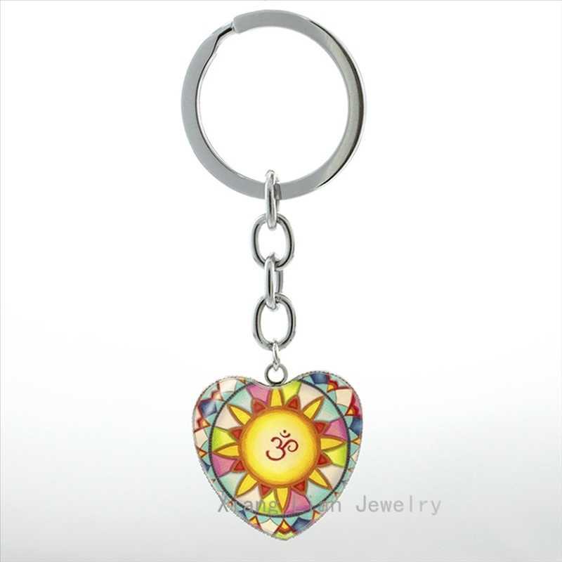 Colorido yoga om símbolo mandala chaveiro charme feminino jóias budista flor meditação chaveiro masculino jóias presente hp358