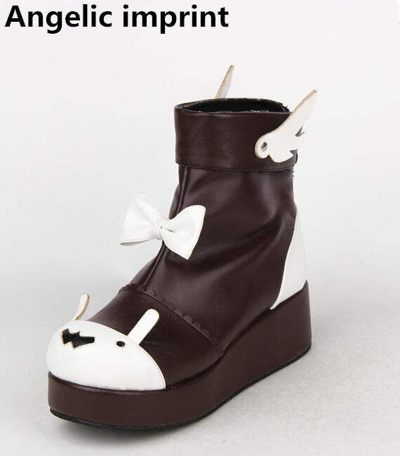 Angelic imprint mori girl Women winter warm boots lady lolita ankle Boots woman princess platform shoes