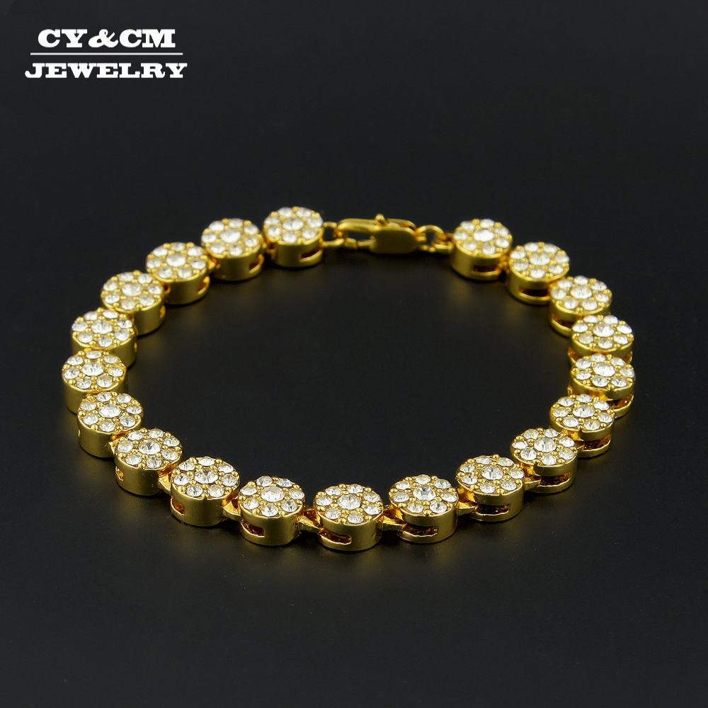 CYCM 10mm Women Mens Gold Hiphop Bracelet Chain 1 Row Round Iced Out AAA Rhinestone Rosary Flower Tennis Bracelet Link Jewelry